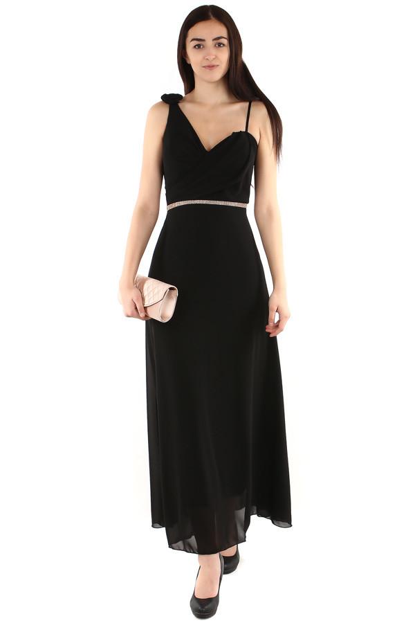 Dlouhé šaty se štrasovou ozdobou v pase 85811adf48