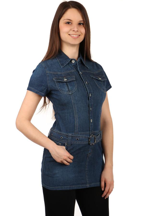 Dámské riflové šaty s krátkým rukávem 1b7c4f56ca3