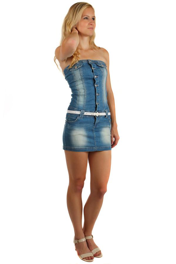 Dámské džínové šaty bez ramínek c6f7dc26f6e