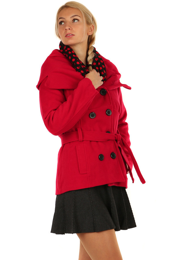 26e83bddd2 Krátký dámský kabát s límcem | Yooy.cz