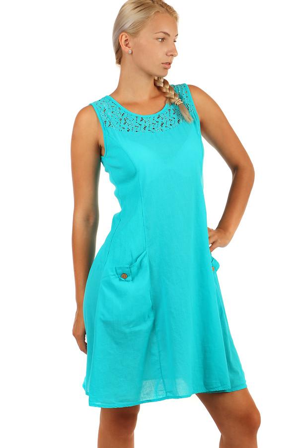 Bavlněné letní šaty s krajkou a výraznými kapsami 3737ba531b
