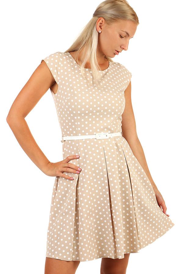 Puntíkované retro šaty s páskem-i pro plnoštíhlé efffef23ce