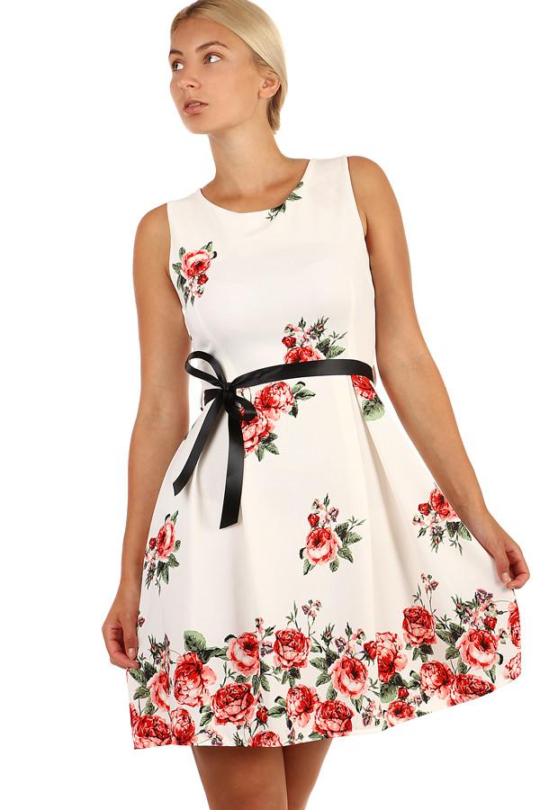 7b2e4c02112e Bílé áčkové šaty s potiskem růží