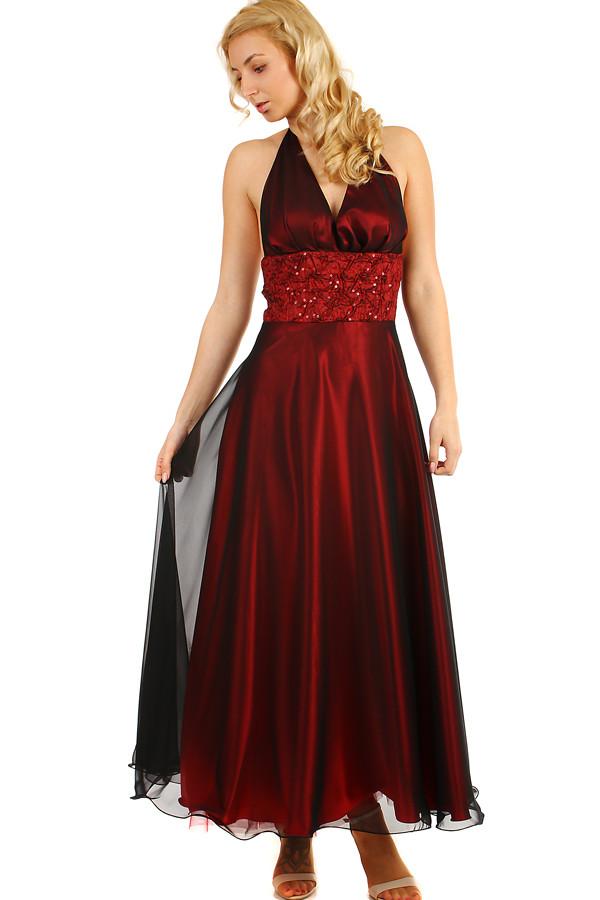 5abd2e7394b Dlouhé vínové šaty za krk