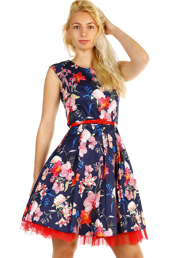 75b8ba772c2d Dámské květované retro šaty s páskem