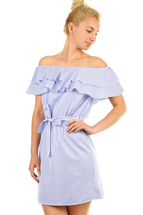 Dámské proužkované šaty s volánem 1c938fa4efd