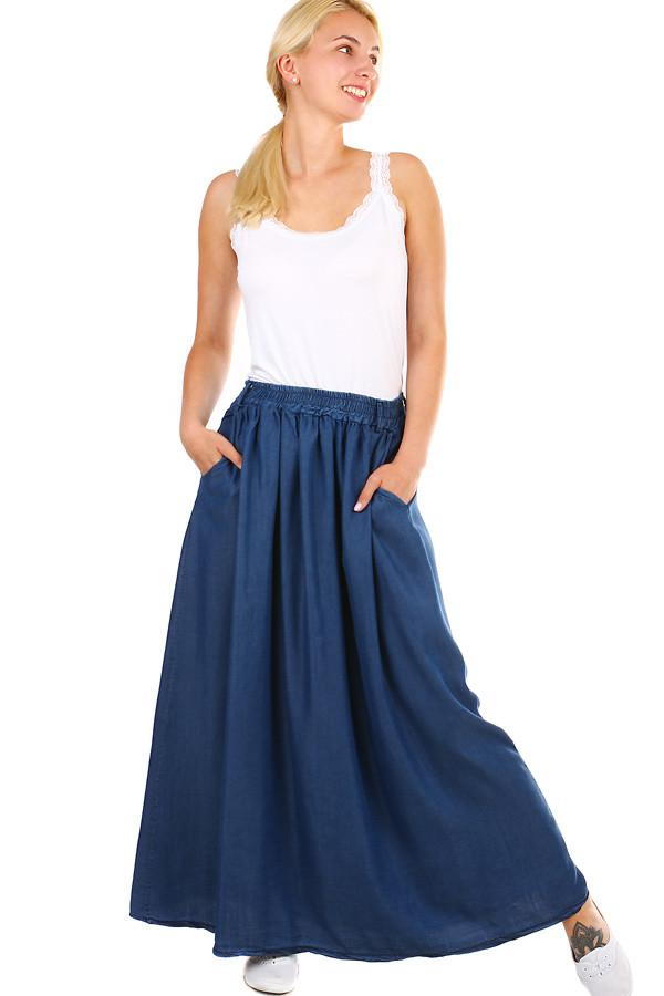 78be6fc323 Dlouhá dámská denim sukně s kapsami