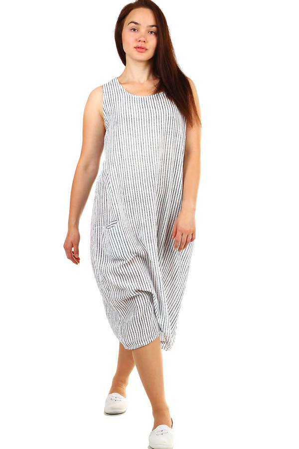 7daaae4c896d Dámské plážové pruhované oversized šaty s kapsami
