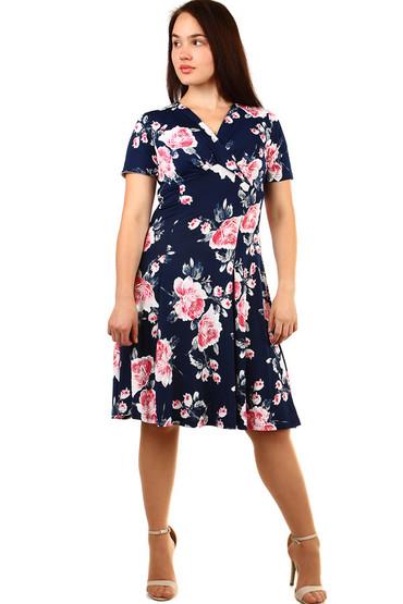 5bde014351e Retro dámské šaty s potiskem - pro plnoštíhlé
