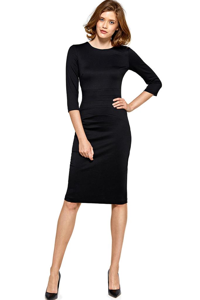 d497cf336517 Společenské pouzdrové šaty s 3 4 rukávem