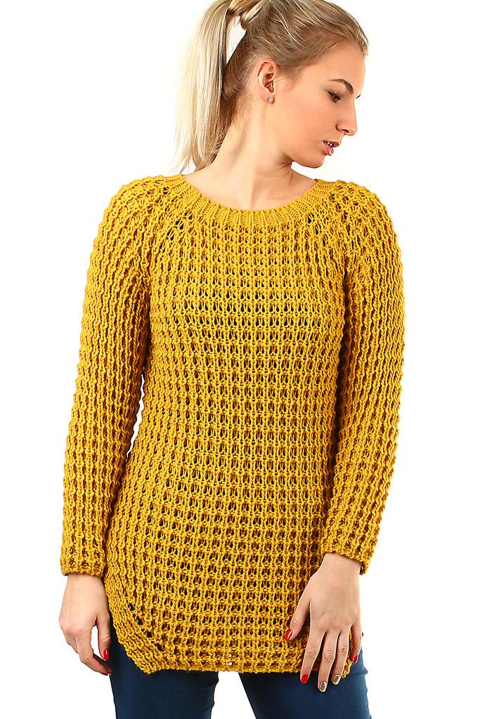 148224ffed53 Dlouhý dámský pletený svetr