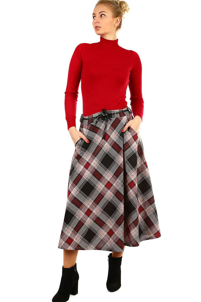 a11b84adf701 Károvaná áčková midi sukně
