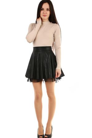 8d970fe2cd9a Koženková černá sukně s tylovou spodničkou