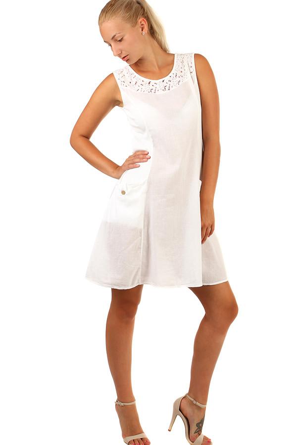 Bavlněné letní šaty s krajkou a výraznými kapsami 03cff75792